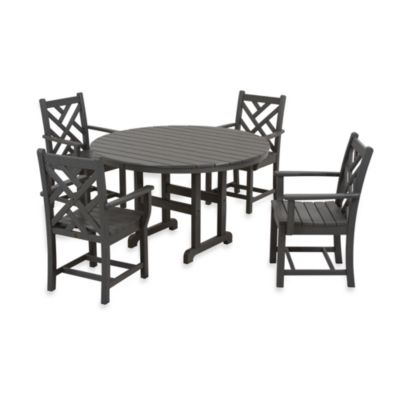 POLYWOOD® Chippendale 5-Piece Dining Set - Slate Grey