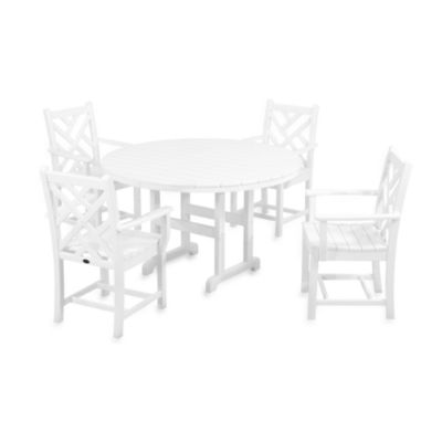 POLYWOOD® Chippendale 5-Piece Outdoor Dining Set in White