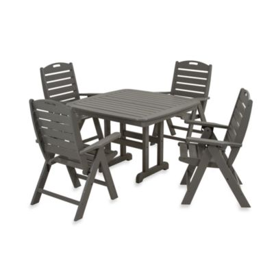 POLYWOOD® Nautical 5-Piece Dining Set in White