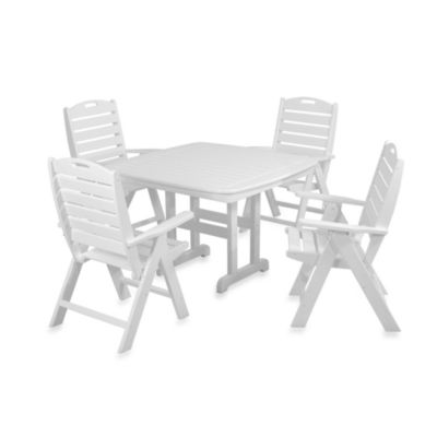 POLYWOOD® Nautical 5-Piece Outdoor Dining Set in White