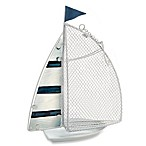 13.25-Inch Metal & Fused Glass Sail Boat Bird Feeder