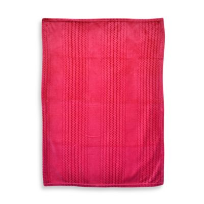 Just Born® Solid Chevron Fluffy Fleece Blanket in Pink