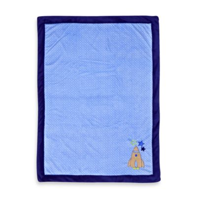 Just Born® Rocket Appliqué Blue Valboa Blanket