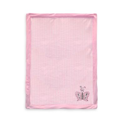 Just Born® Butterfly Appliqué Pink Valboa Blanket