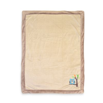 Just Born® Owl Appliqué Tan Valboa Blanket