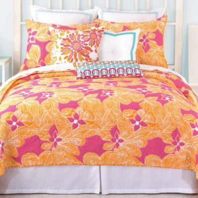 Trina Turk Floral Reversible Twin Coverlet in Multi