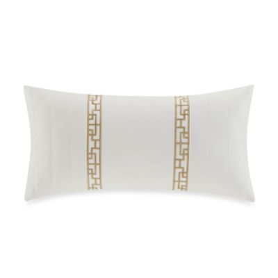 Natori Ming Fretwork Oblong Toss Pillow in White/Champagne