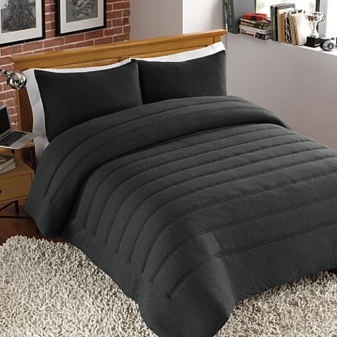 Jersey Channel Stitch Full/Queen Comforter Set in Charcoal