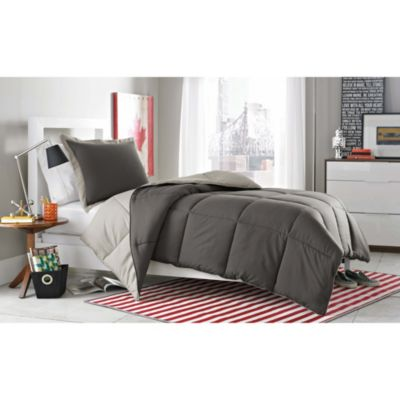 Micro Splendor Reversible Comforter Set in Charcoal