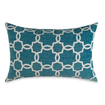 Linked Tile Teal Oblong Toss Pillow