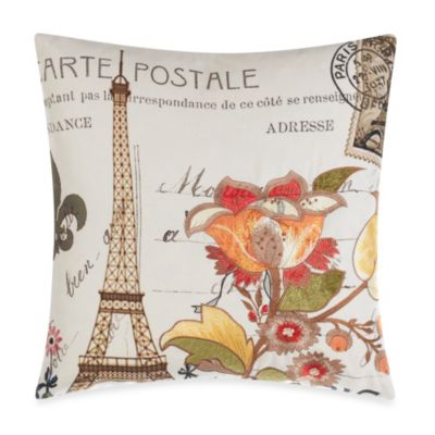 Paris Floral Rust Toss Pillow