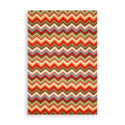 Trans-Ocean Zigzag 2-Foot x 8-Foot Indoor/Outdoor Rug in Sunshine