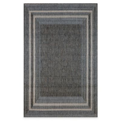 Trans-Ocean Etched Border 7-Foot 10-Inch x 9-Foot 10-Inch Indoor/Outdoor Rug in Silver