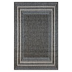 Trans-Ocean Etched Border Indoor/Outdoor Rug in Silver