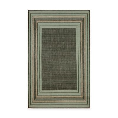 Trans-Ocean Etched Border Indoor/Outdoor Rug in Aqua
