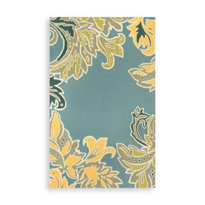 Trans-Ocean Ornamental Leaf Border Indoor/Outdoor Rug in Water