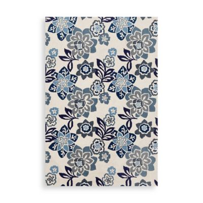 Trans-Ocean Floral 2-Foot x 8-Foot Indoor/Outdoor Rug in Blue