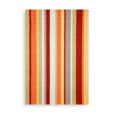 Vertical Stripe 2-Foot x 8-Foot Indoor/Outdoor Rug