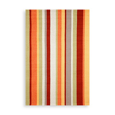 Trans-Ocean Vertical Stripe Gypsy 10-Inch Round Indoor/Outdoor Rug
