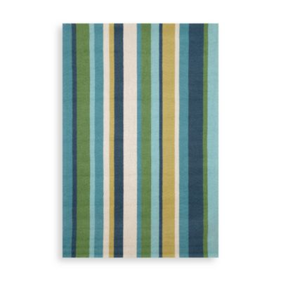 Trans-Ocean Vertical Stripe Seaside 8-Foot 3-Inch x 11-Foot 6-Inch Indoor/Outdoor Rug