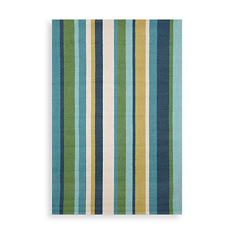 Trans-Ocean Vertical Stripe Seaside 10-Foot Round Indoor/Outdoor Rug