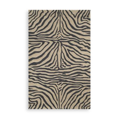 Trans-Ocean Zebra Black 2-Foot x 3-Foot Indoor/Outdoor Rug