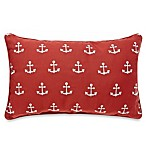 Anchor Embroidered Oblong Toss Pillow