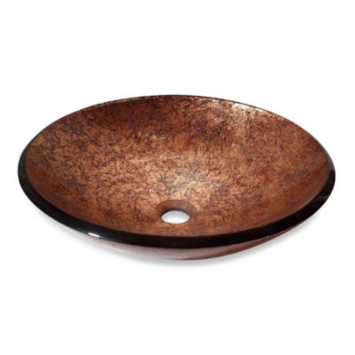 Avanity Tempered Glass Vessel Sink in Copper