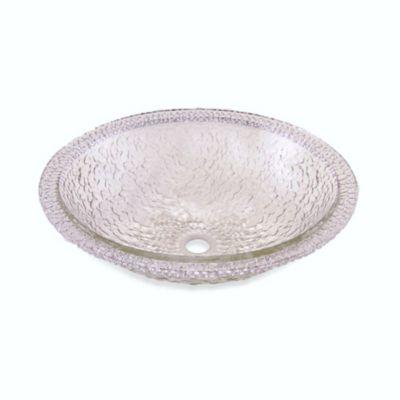 "JSG Oceana ""Hard Roc"" Pebble Glass 16-Inch Bathroom Drop-In Combination Sink in Crystal"