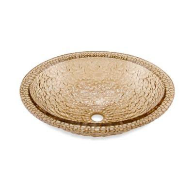 "JSG Oceana ""Hard Roc"" Pebble Glass 16-Inch Bathroom Drop-In Combination Sink in Fawn"