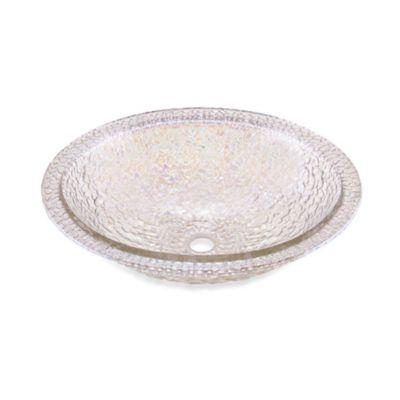 "JSG Oceana ""Hard Roc"" Pebble Glass 16-Inch Undermount/Drop-In Bathroom Sink in Crystal Reflections"