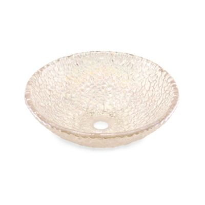 "JSG Oceana ""Hard Roc"" Pebble Glass 16-Inch Bathroom Vessel Sink in Crystal Reflections"