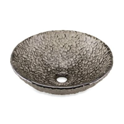 "JSG Oceana ""Hard Roc"" Pebble Glass 16-Inch Bathroom Vessel Sink in Black Nickel"