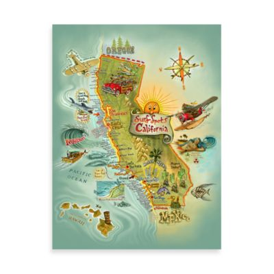 Cali Surf Spots Canvas Poster