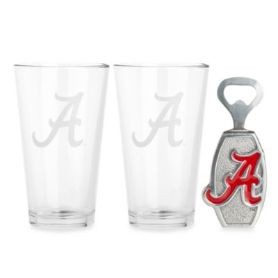 Aurthur Court Designs University of Alabama 3-Piece Pub Glass and Bottle Opener Set