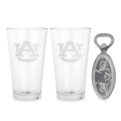 Auburn University 3-Piece Pub Glass and Bottle Opener Set
