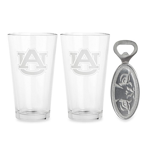 Aurthur Court Designs Auburn University 3-Piece Pub Glass and Bottle Opener Set