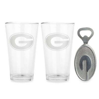 Arthur Court Designs University of Georgia 3-Piece Pub Glass and Bottle Opener Set