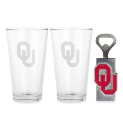 University of Oklahoma 3-Piece Pub Glass and Bottle Opener Set