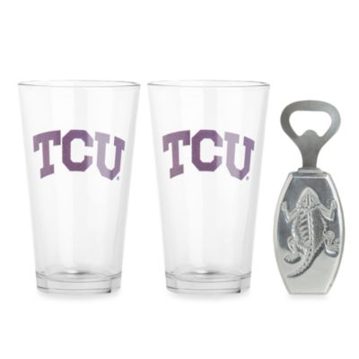 Arthur Court Designs Texas Christian University 3-Piece Pub Glass and Bottle Opener Set