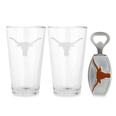 University of Texas 3-Piece Pub Glass and Bottle Opener Set