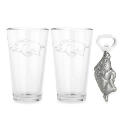 Arthur Court Designs University of Arkansas 3-Piece Pub Glass and Bottle Opener Set