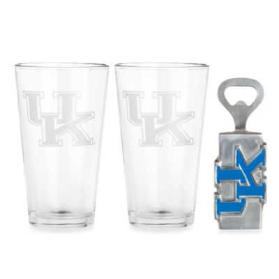 Arthur Court Designs University of Kentucky 3-Piece Pub Glass and Bottle Opener Set