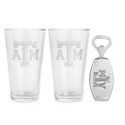 Arthur Court Designs Texas A&M University 3-Piece Pub Glass and Bottle Opener Set