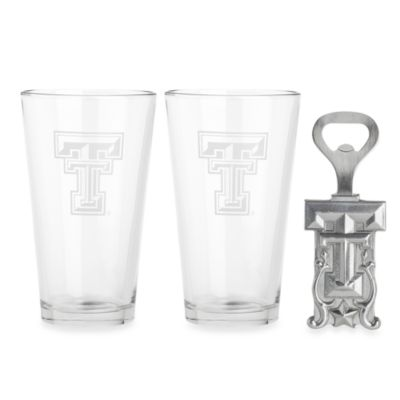 Texas Tech University 3-Piece Pub Glass and Bottle Opener Set