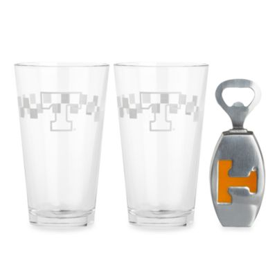 Arthur Court Designs University of Tennessee 3-Piece Pub Glass and Bottle Opener Set