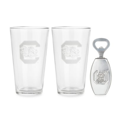 University of South Carolina 3-Piece Pub Glass and Bottle Opener Set