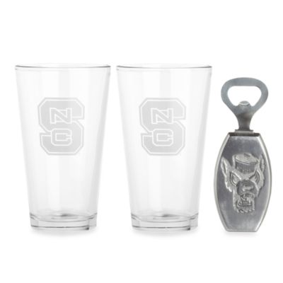 North Carolina State 3-Piece Pub Glass and Bottle Opener Set