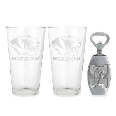 Arthur Court Designs University of Missouri 3-Piece Pub Glass and Bottle Opener Set