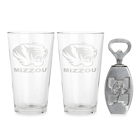 Arthur Court Designs University of Missouri 3-Piece Pub Glass and Bottle Opener Set